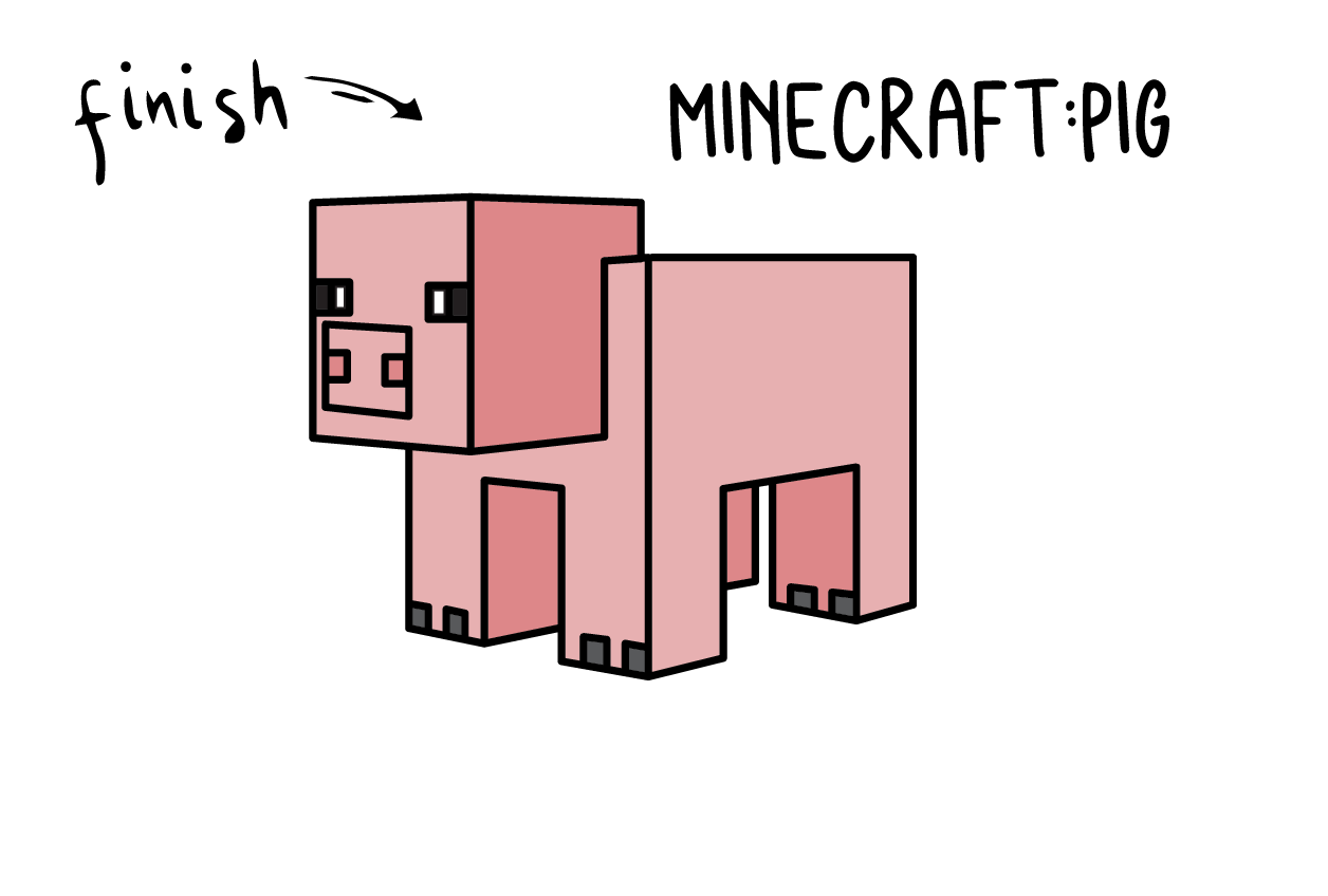 How To Draw a Minecraft Pig – Simple Easy Line Drawing Guide
