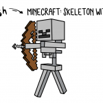 How To Draw a Minecraft Skeleton With Bow & Arrow
