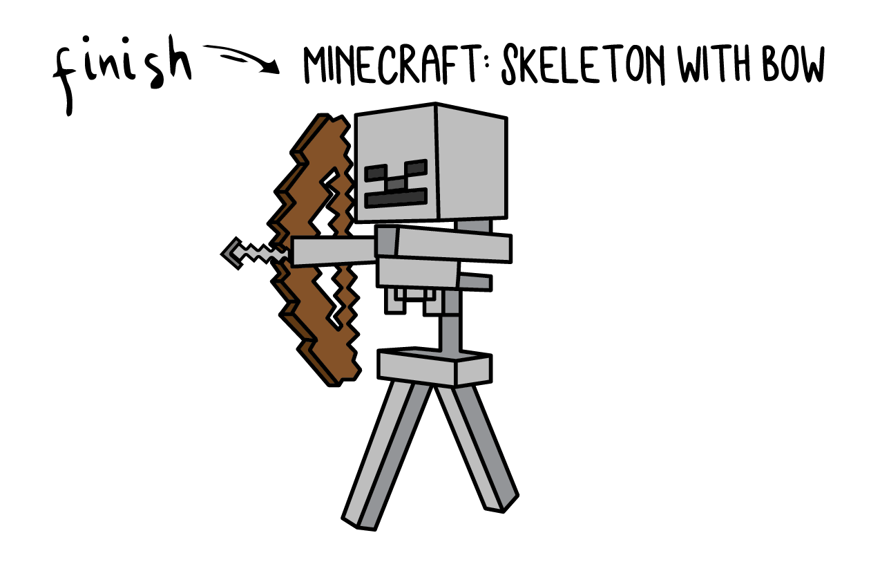 How To Draw Minecraft SKELETON WITH BOW Monster Villian Step by Step Art for Kids Tutorial Guide Video Game Final