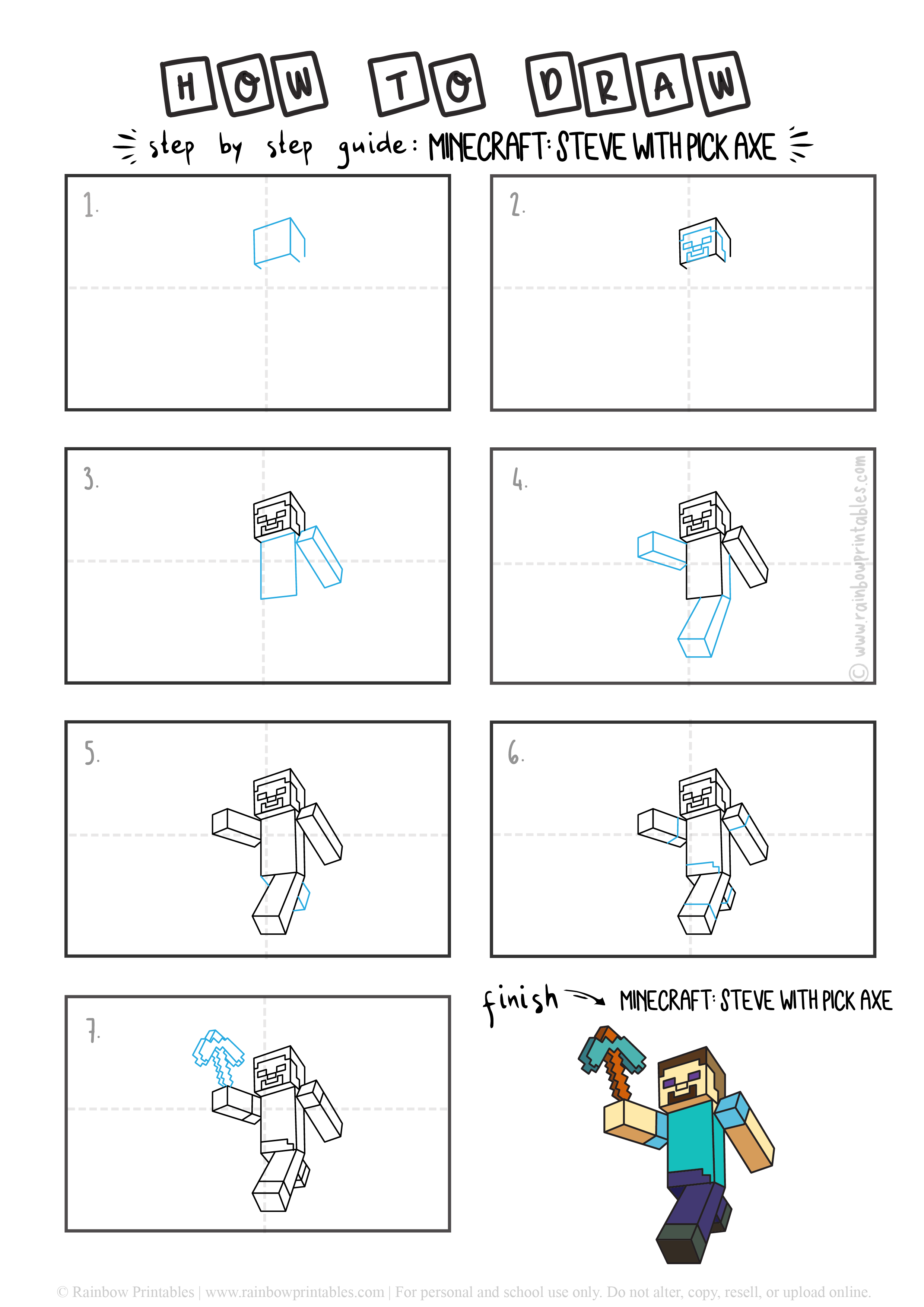 How To Draw Minecraft STEVE WIT PICK AXE CHARACTER Step by Step Art for Kids Tutorial Guide Video Game