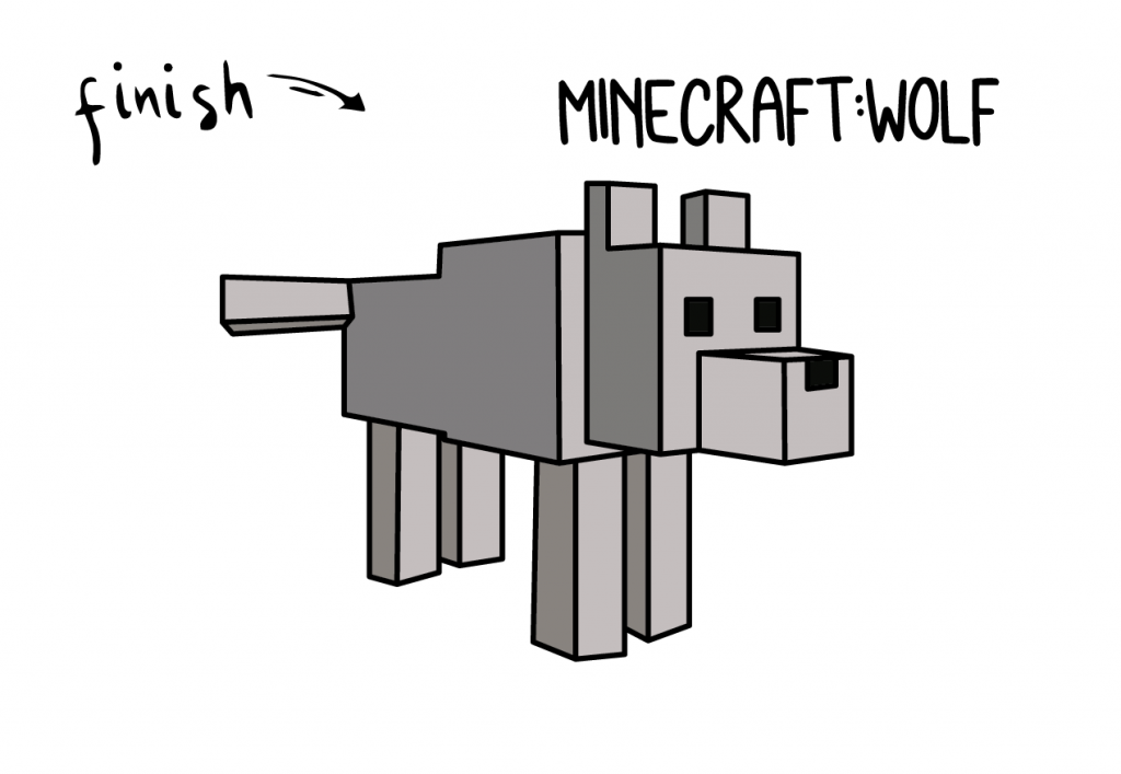 How To Draw Minecraft Wolf Animals Step by Step Art for Kids Tutorial Guide Video Game FINAL
