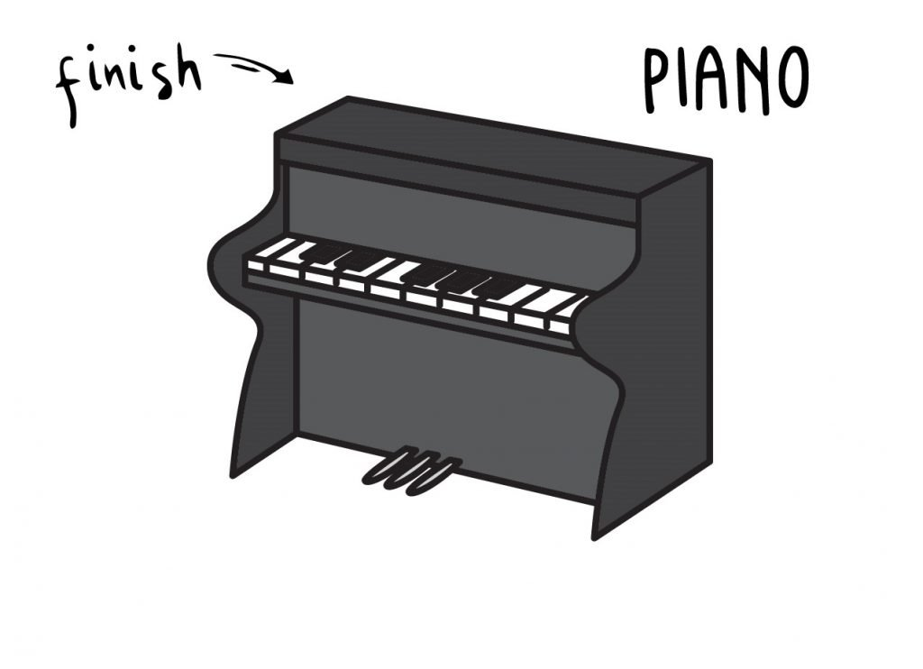 How To Draw Piano Step by Step for Kids Cartoon Art Project Drawing Guide FINAL