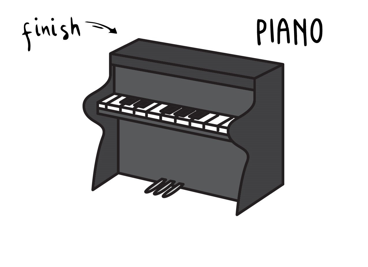 How To Draw a Cartoon Piano (Really Easy for Young Children)