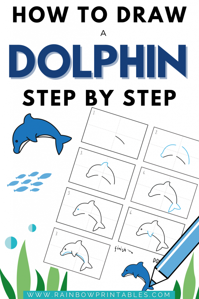 Not realistic like others but very simple cartoon dolphin, great for young children. We break it down in 8 super simple steps -- How to draw a dolphin, easy, cute, step by step, dolphin jumping, jumping out of the water, simple, kids, dolphin face, art painting, outline, not realistic, beginners drawing tips, drawing techniques for children, drawing ideas, simple doodles, #howtodraw #drawingtips how to draw, teach kids, cute chibi, art, tutorial guides for kids. #Art Project Ideas for Children