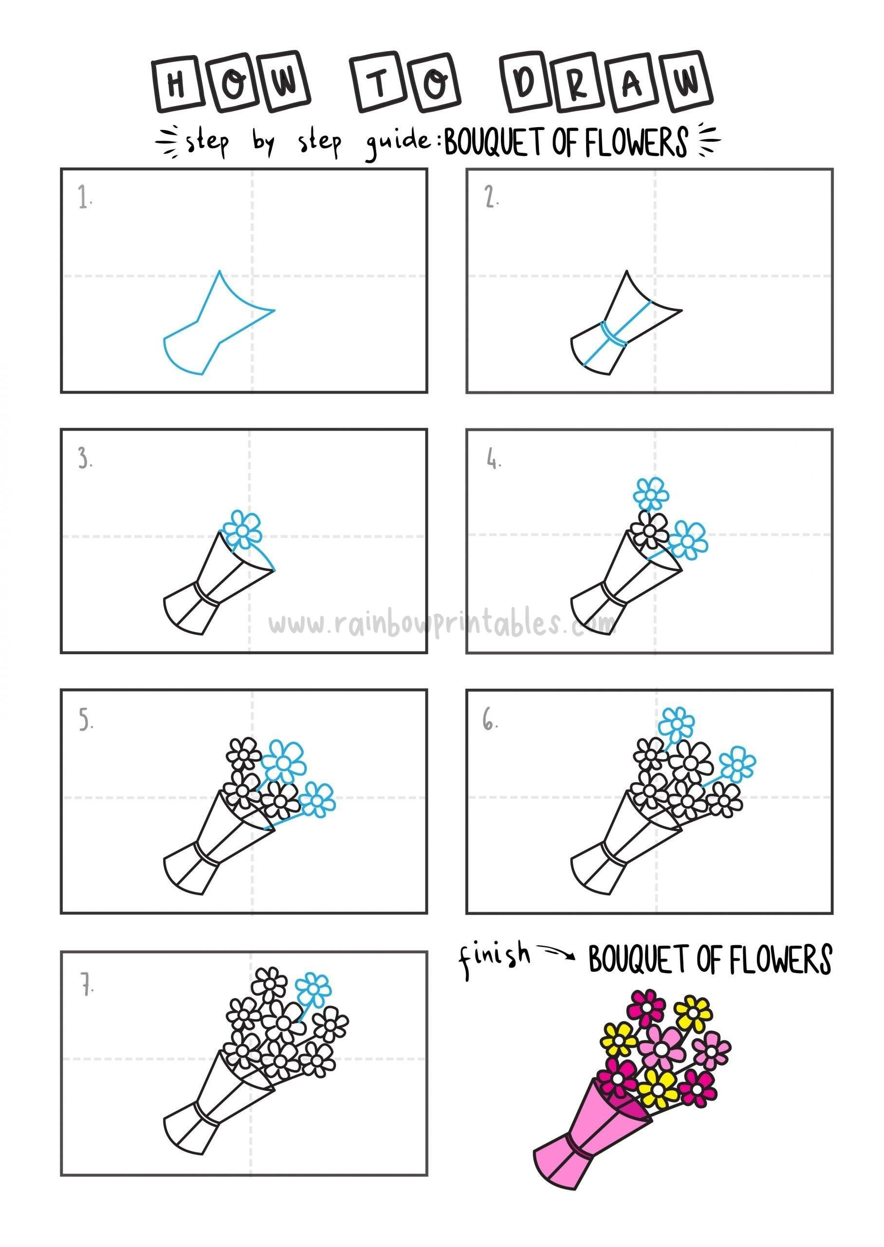 How To Draw Tutorials For Kids BOUQUET OF FLOWERS Step by step for kids easy simple guide