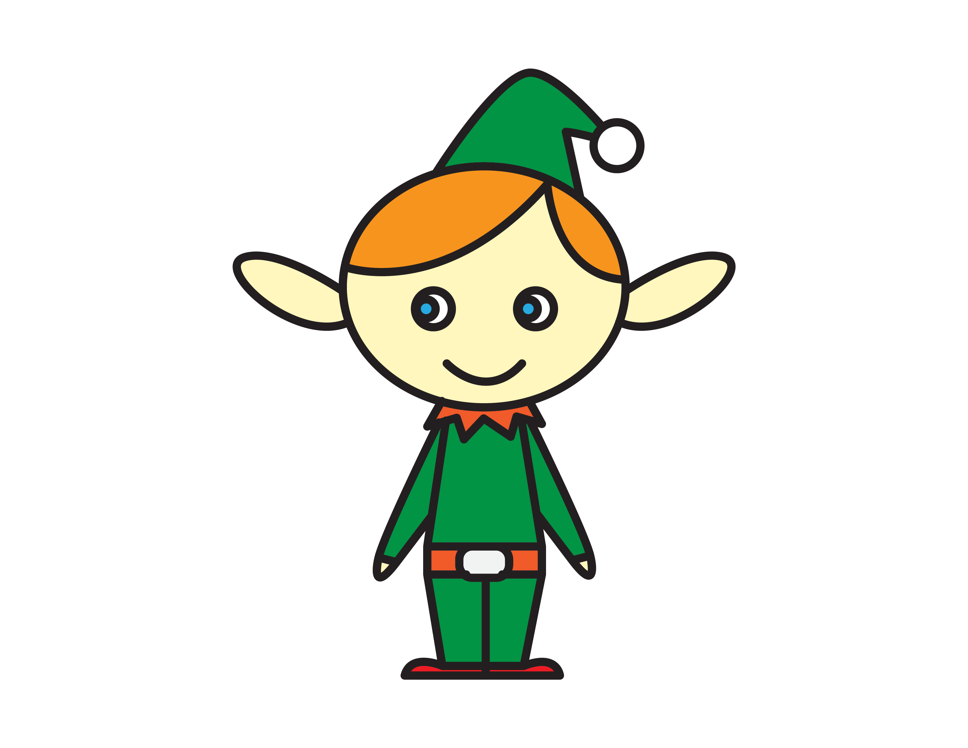 How To Draw a Cheerful Christmas Holiday Elf for Kids