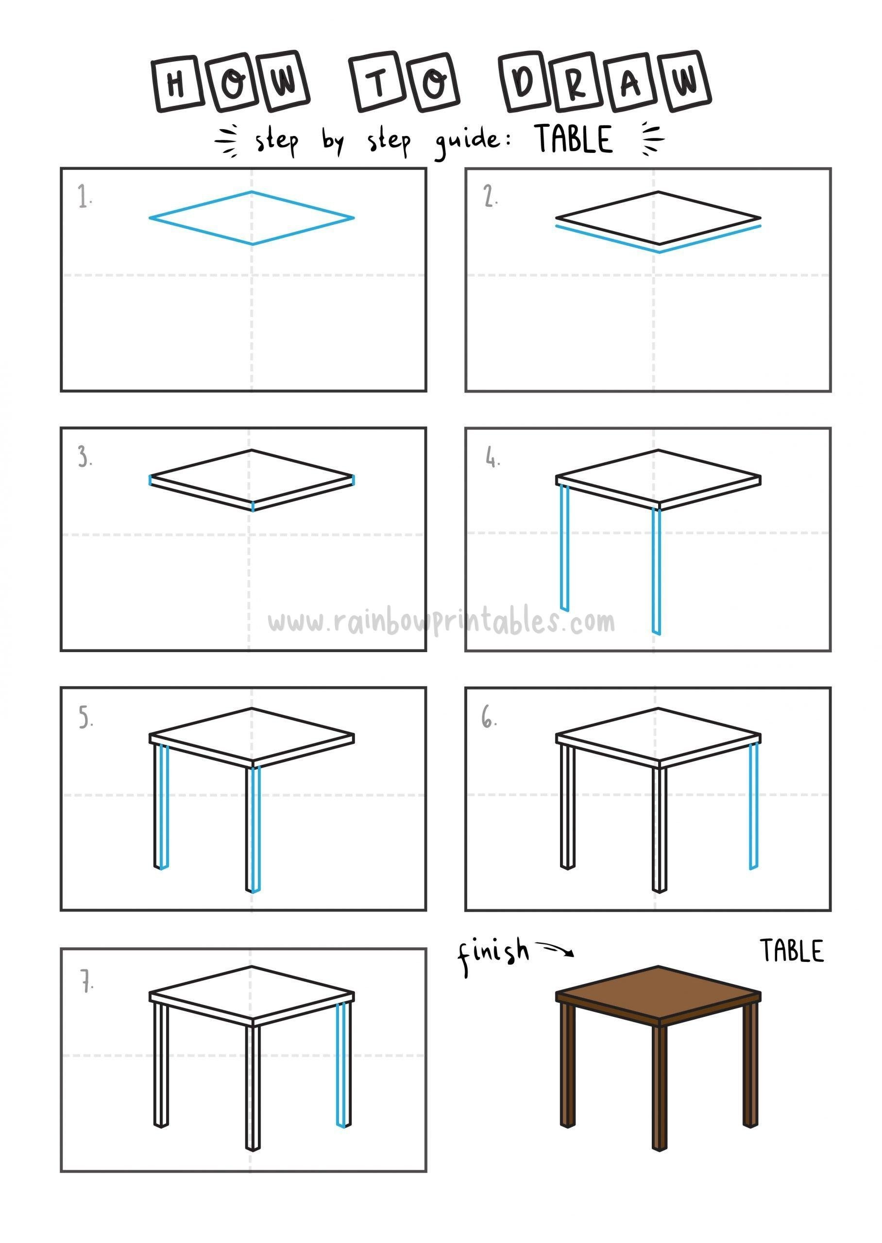 How To Draw Tutorials For Kids TABLE Step by step for kids easy simple guide