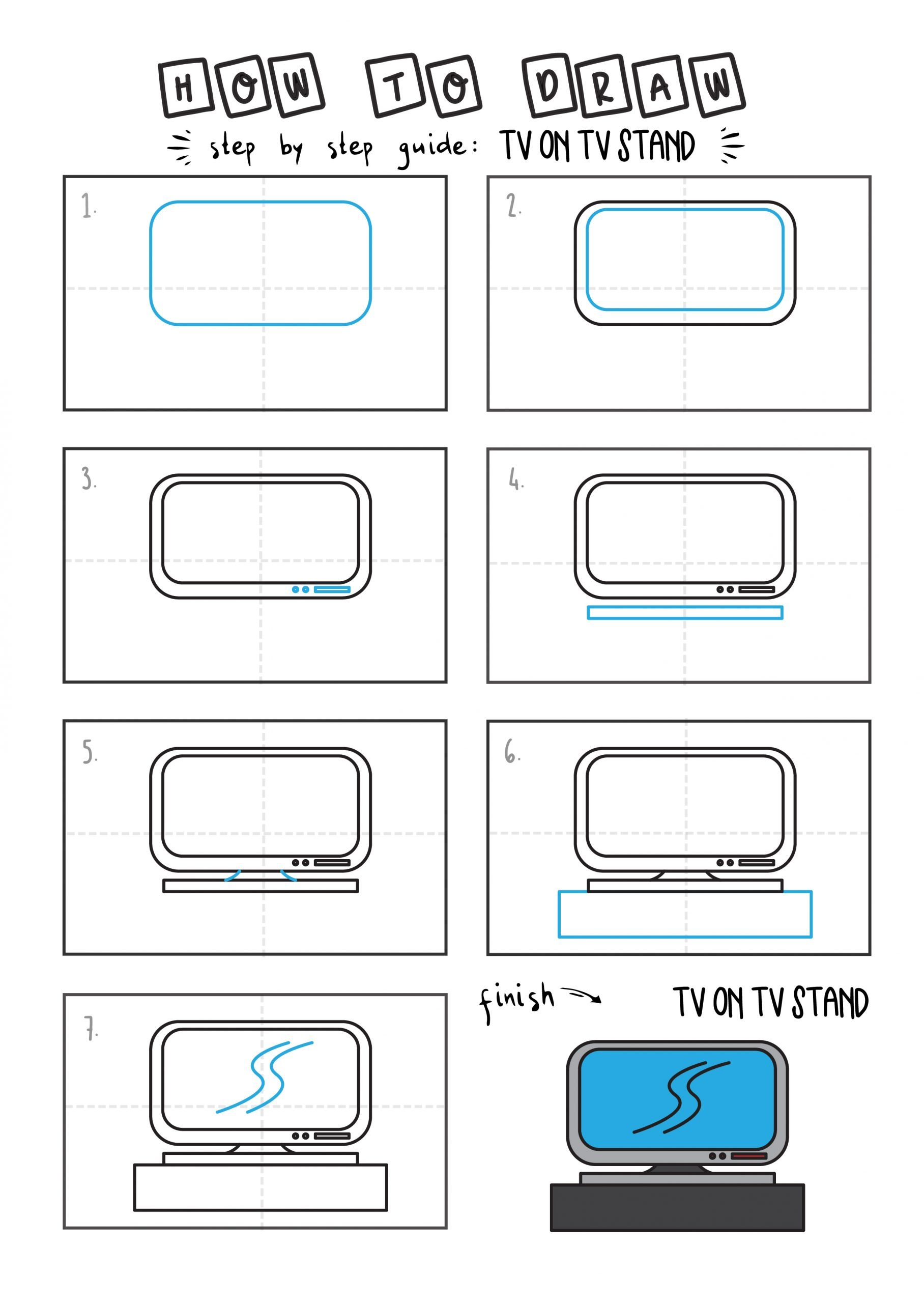 How To Draw Tutorials For Kids TV Stand Television Step by step for kids easy simple guide