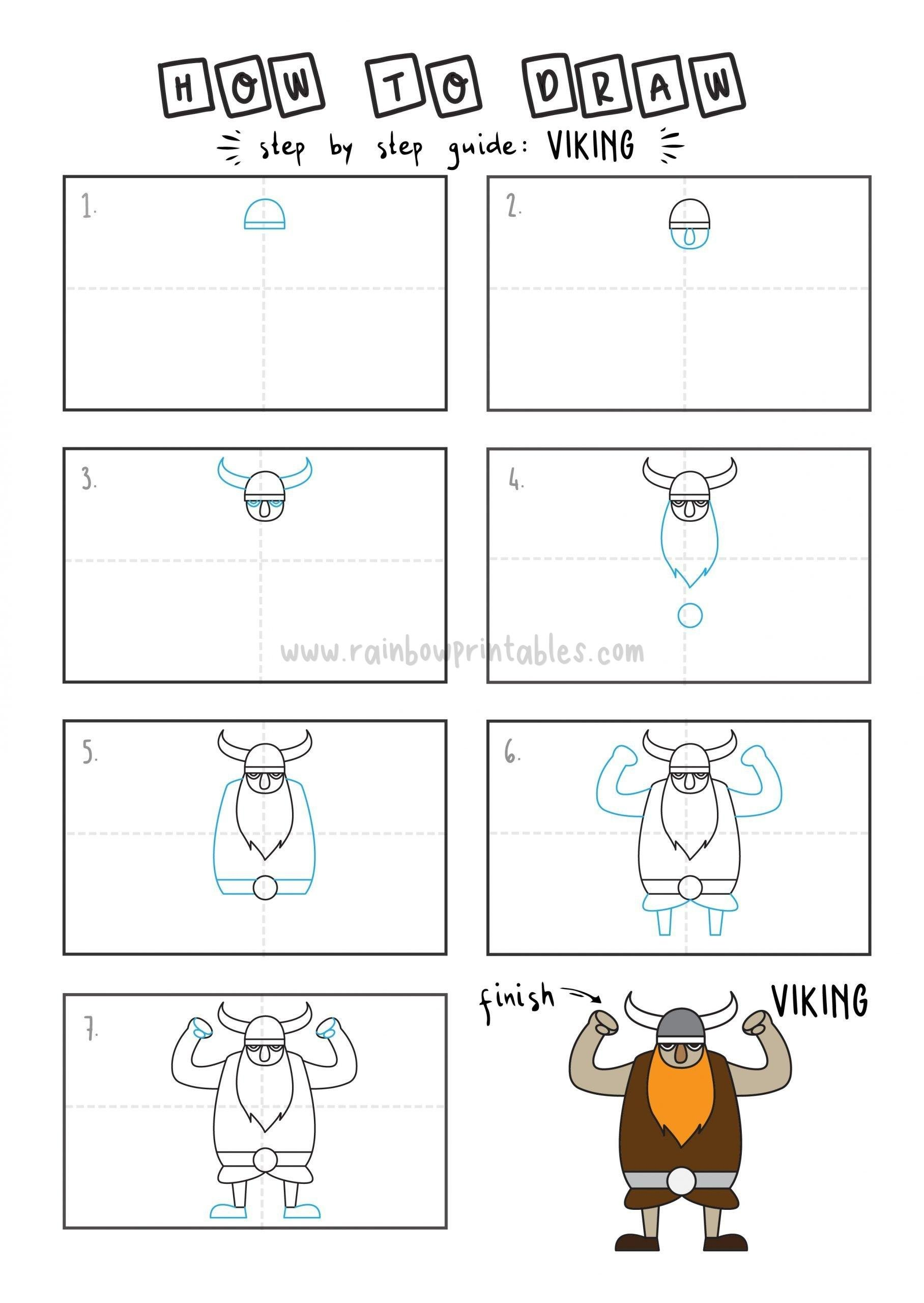 How To Draw Tutorials For Kids VIKING Step by step for kids easy simple guide