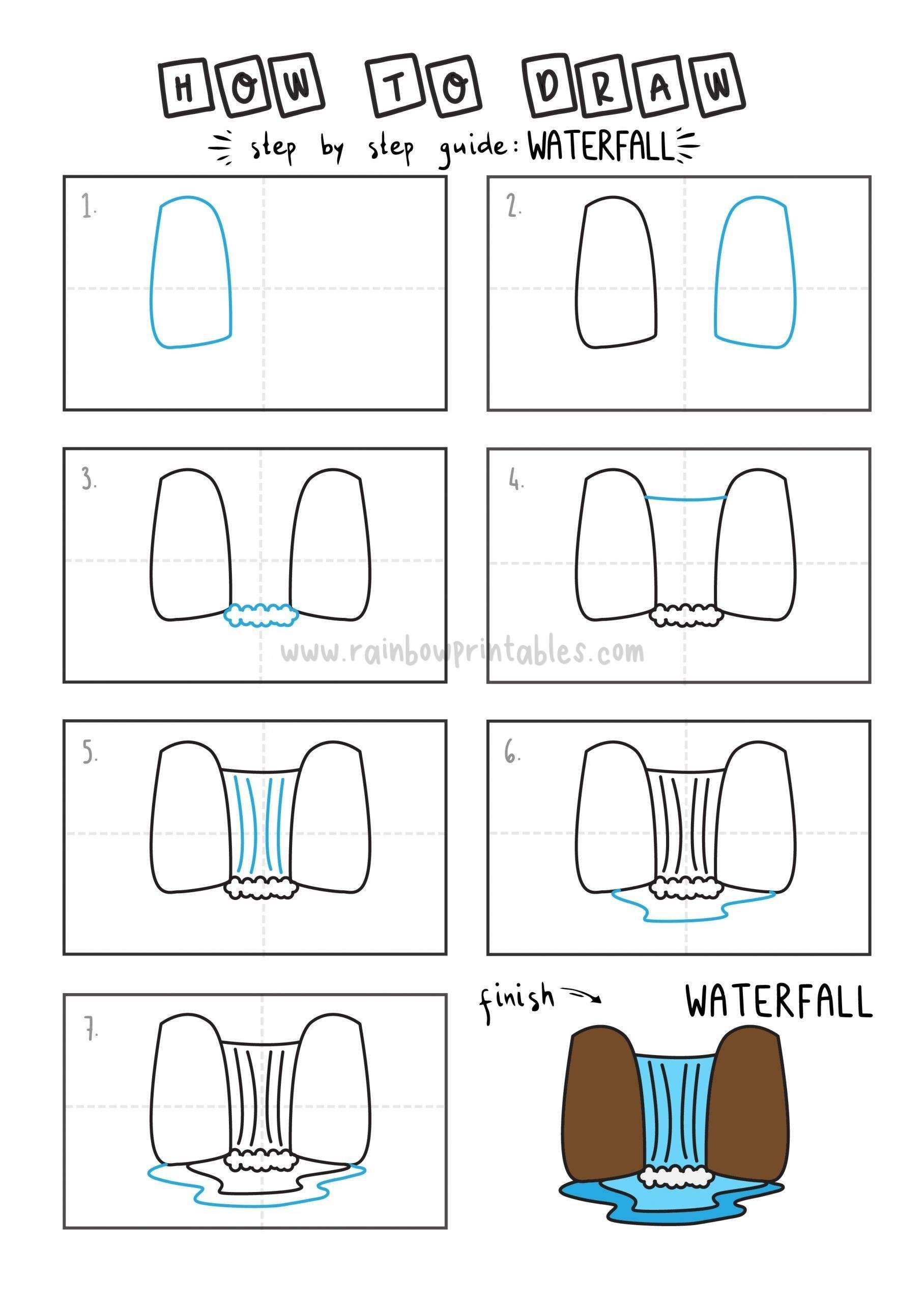 How To Draw Tutorials For Kids Waterfall Step by step for kids easy simple guide Sceneary