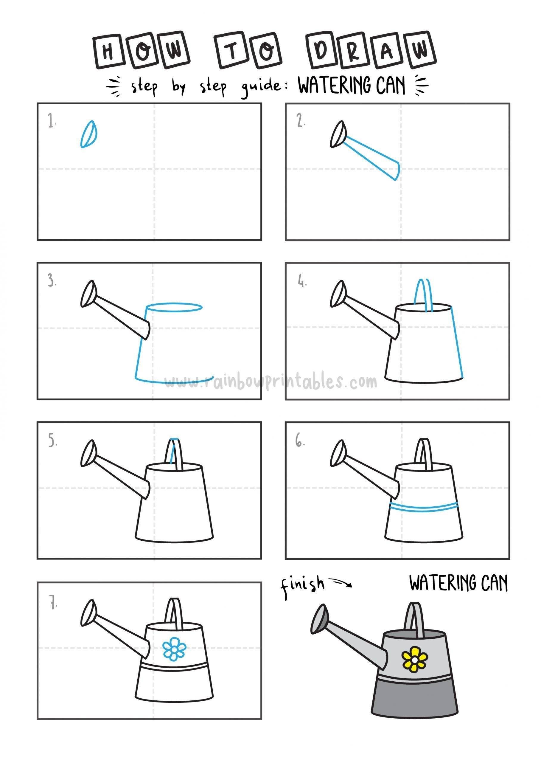How To Draw Tutorials For Kids Watering Can Step by step for kids easy simple guide