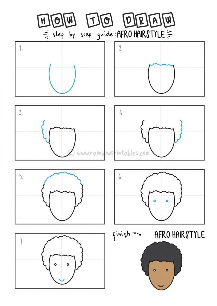 How To Draw an Afro hairStyle arts tutorial step by step for kids