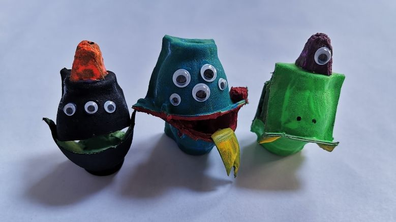 monsters made with egg shells