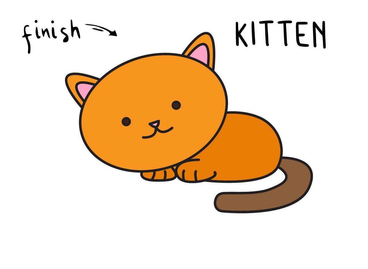 How to Draw a Cute Baby Kitten for Young Children (Step by Step Drawing)