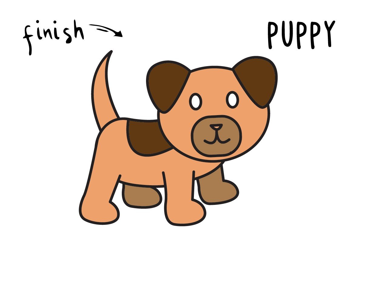 Drawing a Cartoon Puppy Dog Step By Step for Little Kids (Tutorial!)