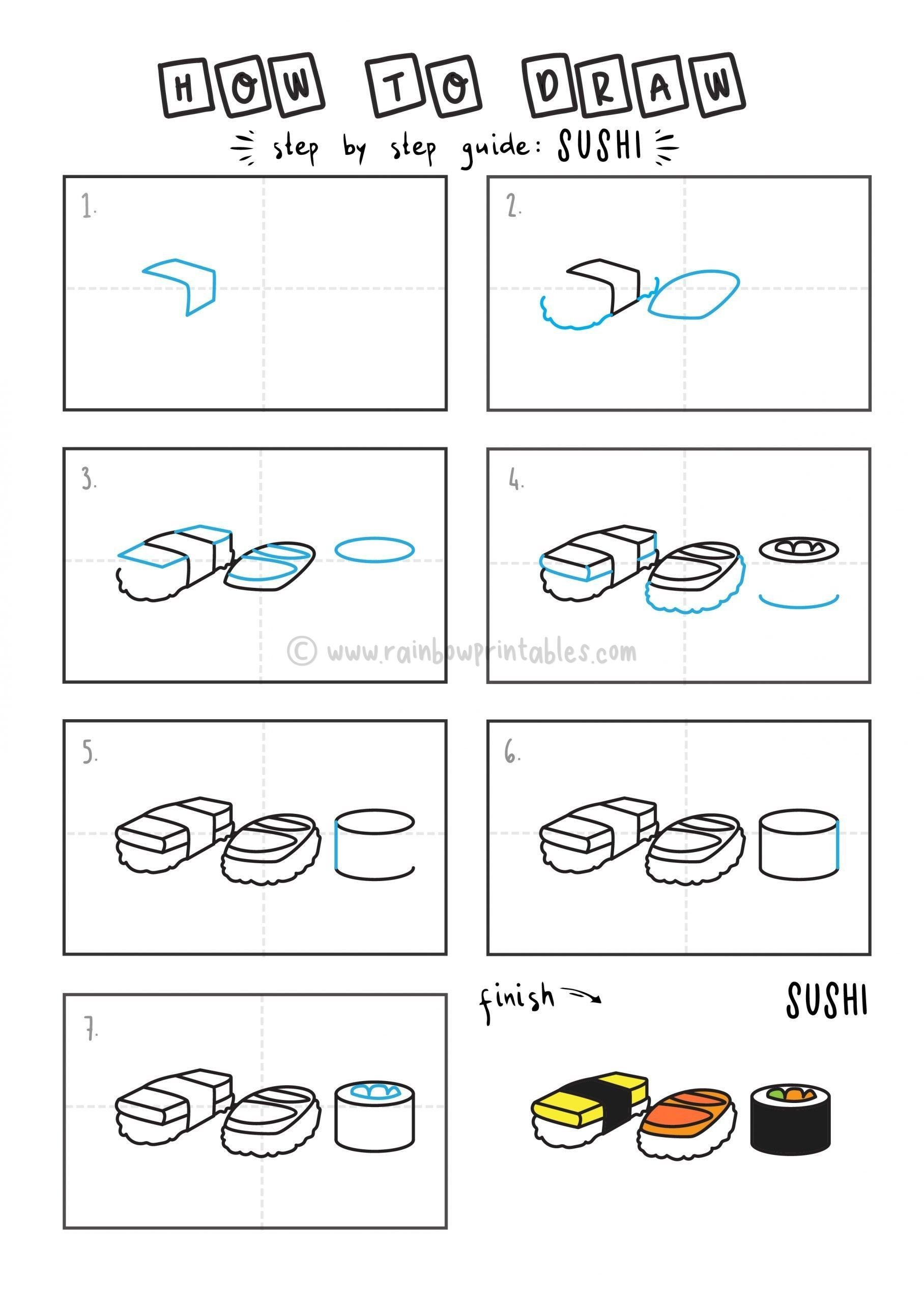 How to Draw sushi arts tutorial step by step for kids