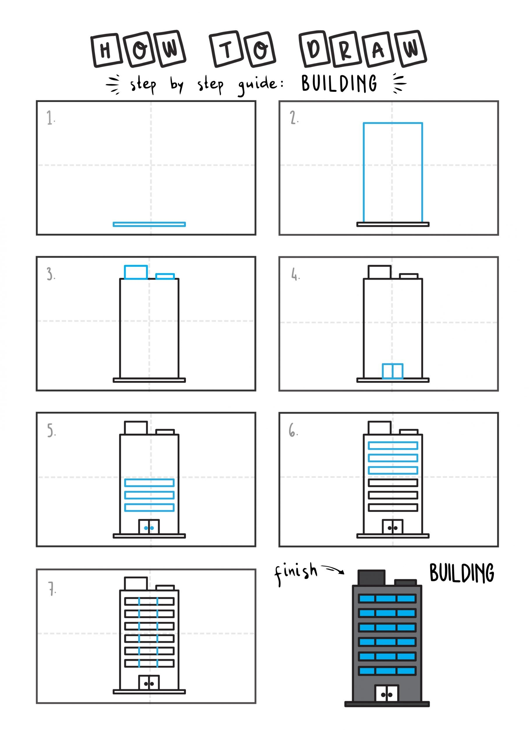 How to draw a cartoon building step by step for children EAsy simple tutorial