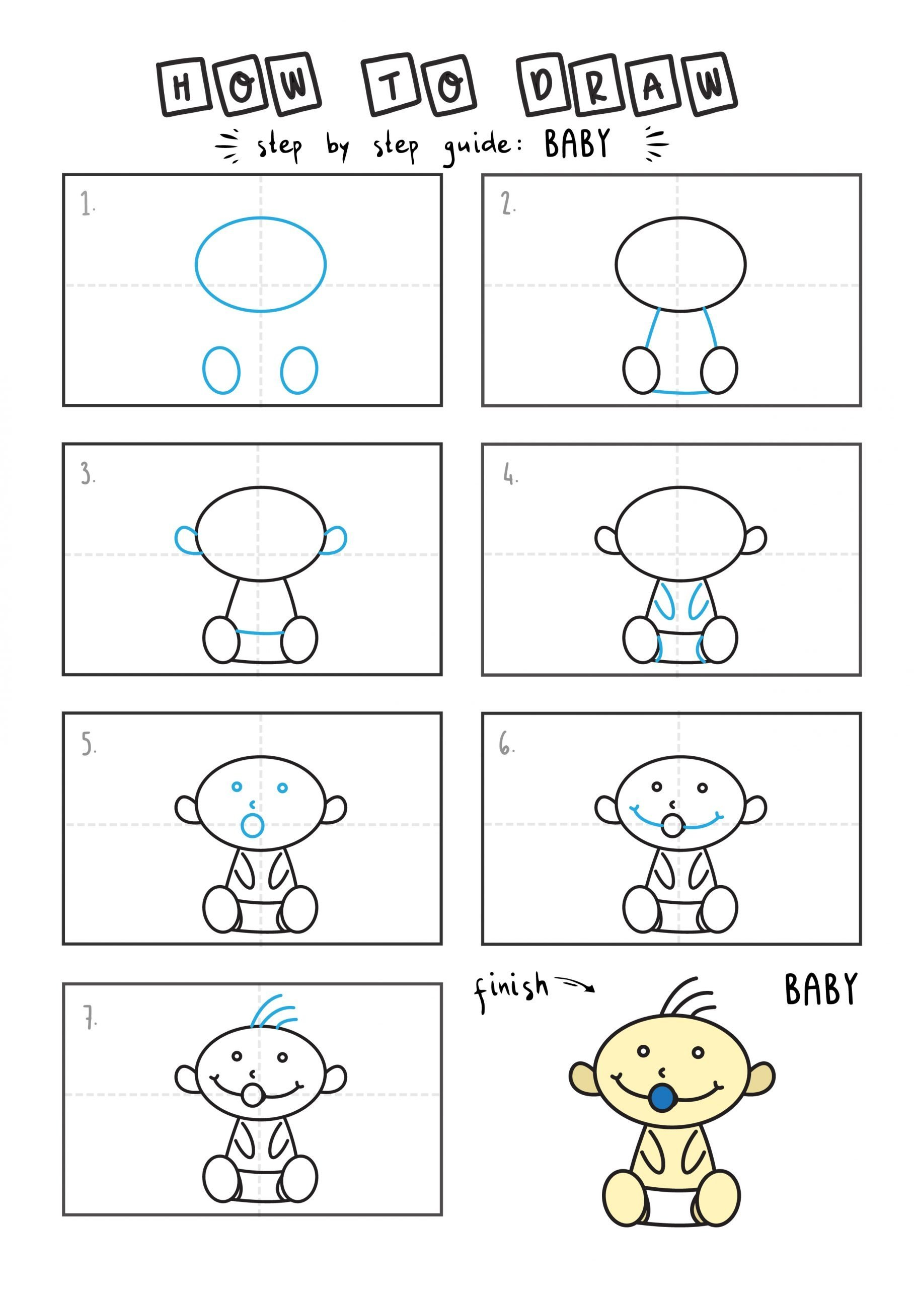 How to draw a cute cartoon baby with pacificer step by step for children EAsy simple tutorial