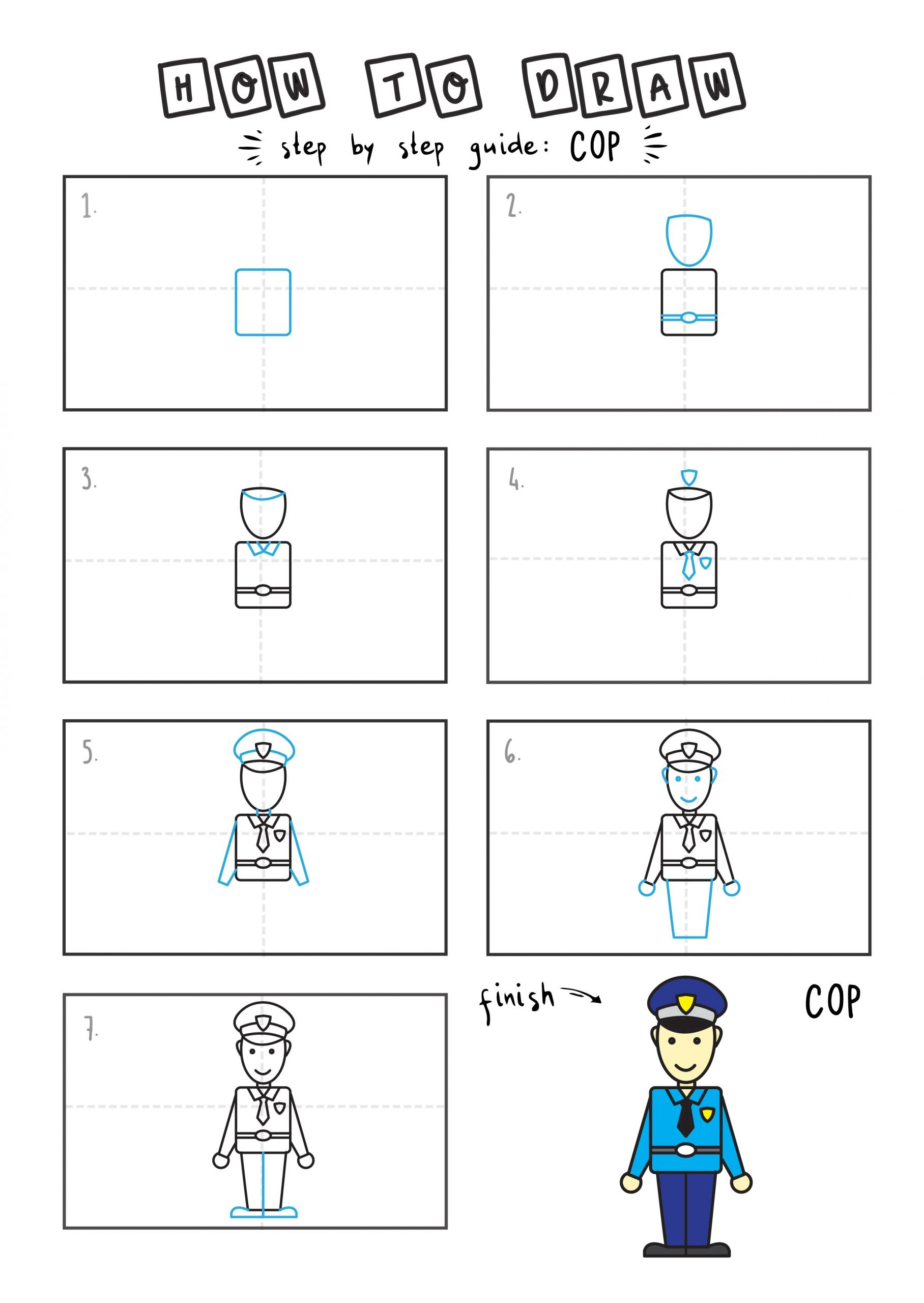 How to draw a cute chibi cartoon cop step by step for children EAsy simple tutorial