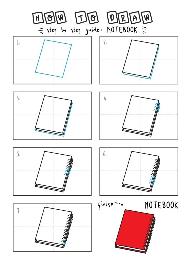 How to draw a notebook arts tutorial step by step for kids