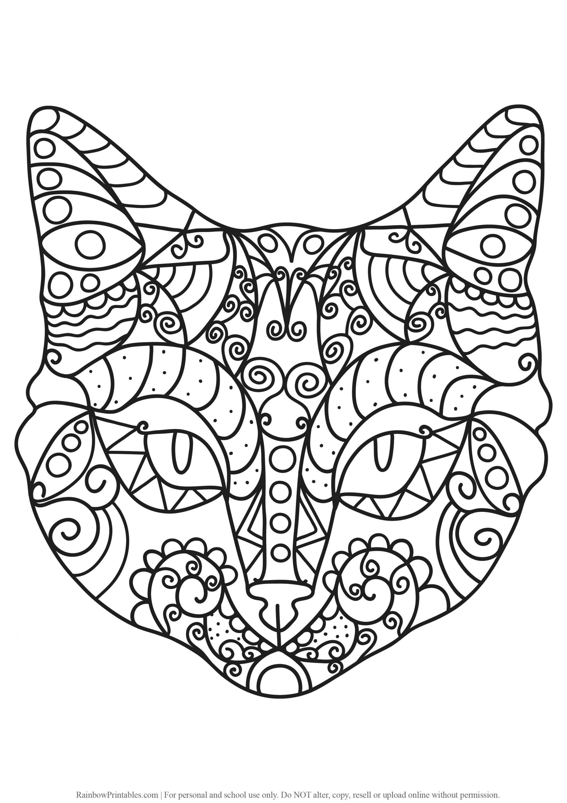 34 Free Mosaic Kitty Cat Coloring Pages For Kids Adults Anti Stress Art Activity Rainbow Printables