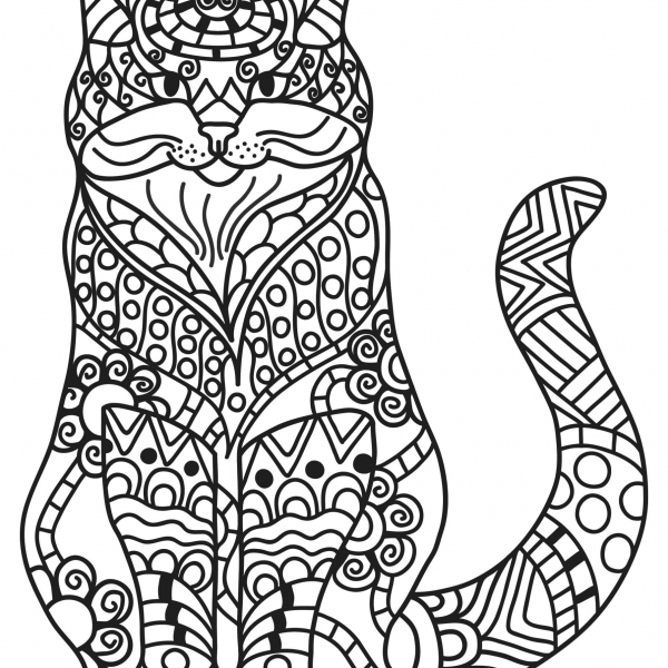 KITTY CAT PET COLORING PAGES FOR KIDS-FREE KITTEN MOSAIC MANDALA CALMING SHEET FOR KIDS ADULTS