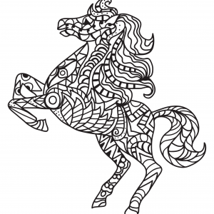Horse Pony Free Coloring Pages for Adults Patterns Mandala Mosaic Tiles