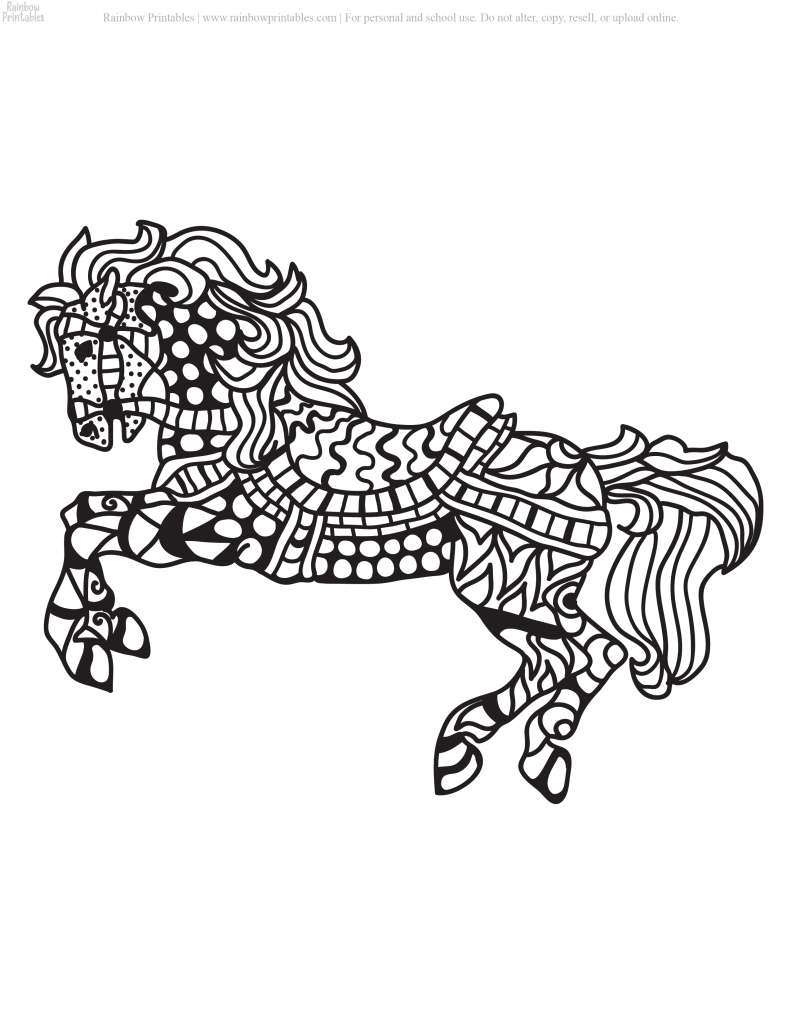 PONY MOASIC MANDALA SEA HORSE FANTASY COLORING PAGES FOR ADULTS GROWN UP PRINTABLE ACTIVITY
