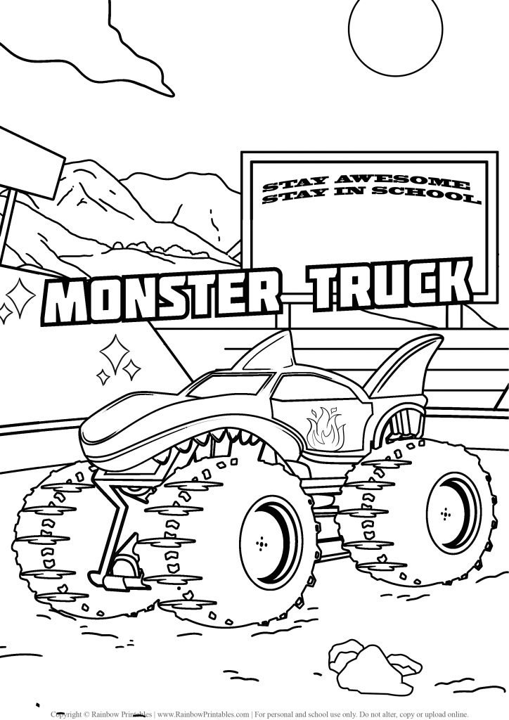 Monster Truck coloring pages, hot wheels, grave digger, jam, games drawing, monster truck party madness, coloring pages for boys, FREE, USA America illustration