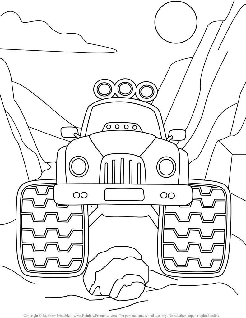 Monster Truck coloring pages, hot wheels, grave digger, jam, games drawing, monster truck party madness, coloring pages for boys, logo, USA America illustratio