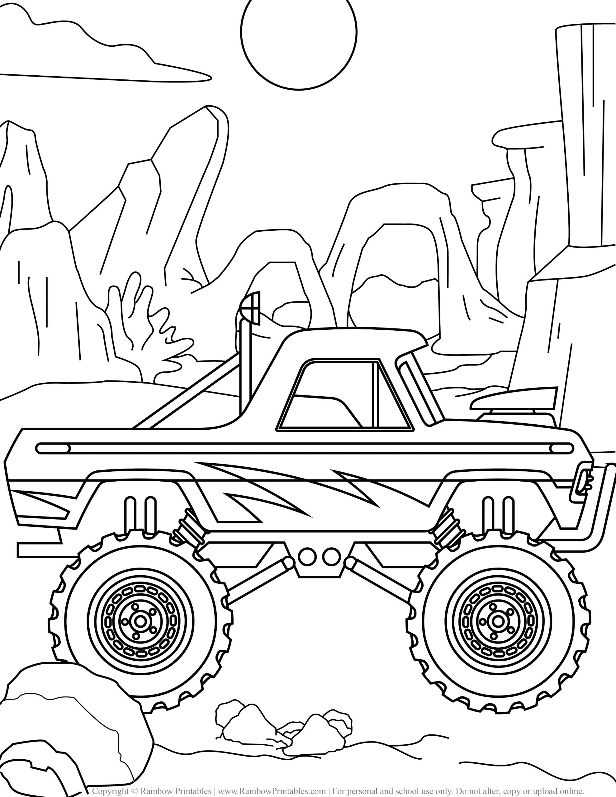 7 Free Monster Truck Coloring Pages For Kids Printable Download Rainbow Printables