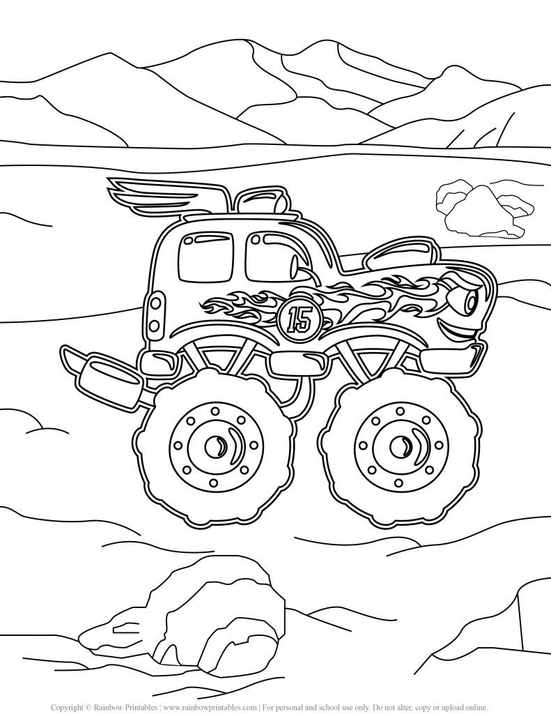 Monster Truck coloring pages, hot wheels, grave digger, jam, games drawing, monster truck party madness, coloring pages for boys,USA America illustration Freebie