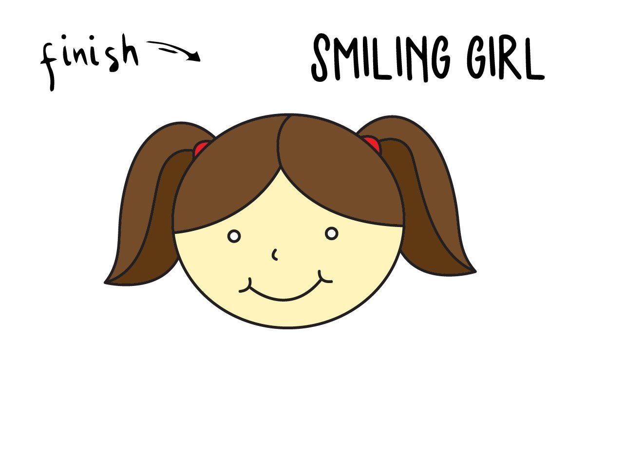 How To Draw a Cute Smiling Girl's Face (Tutorial for Little Kids)