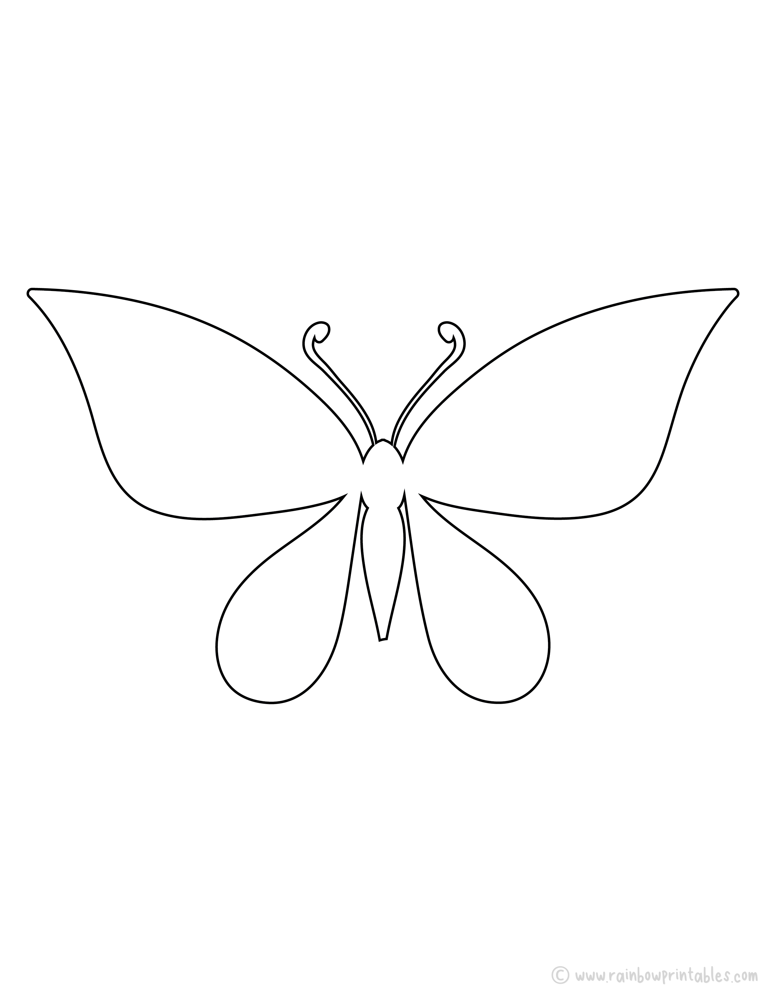 15 Free Butterfly Outline Printable Pages for Kid's Arts & Crafts Projects