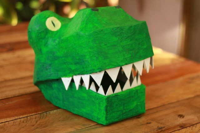 Recycled Paper Mache Dinosaur Mask