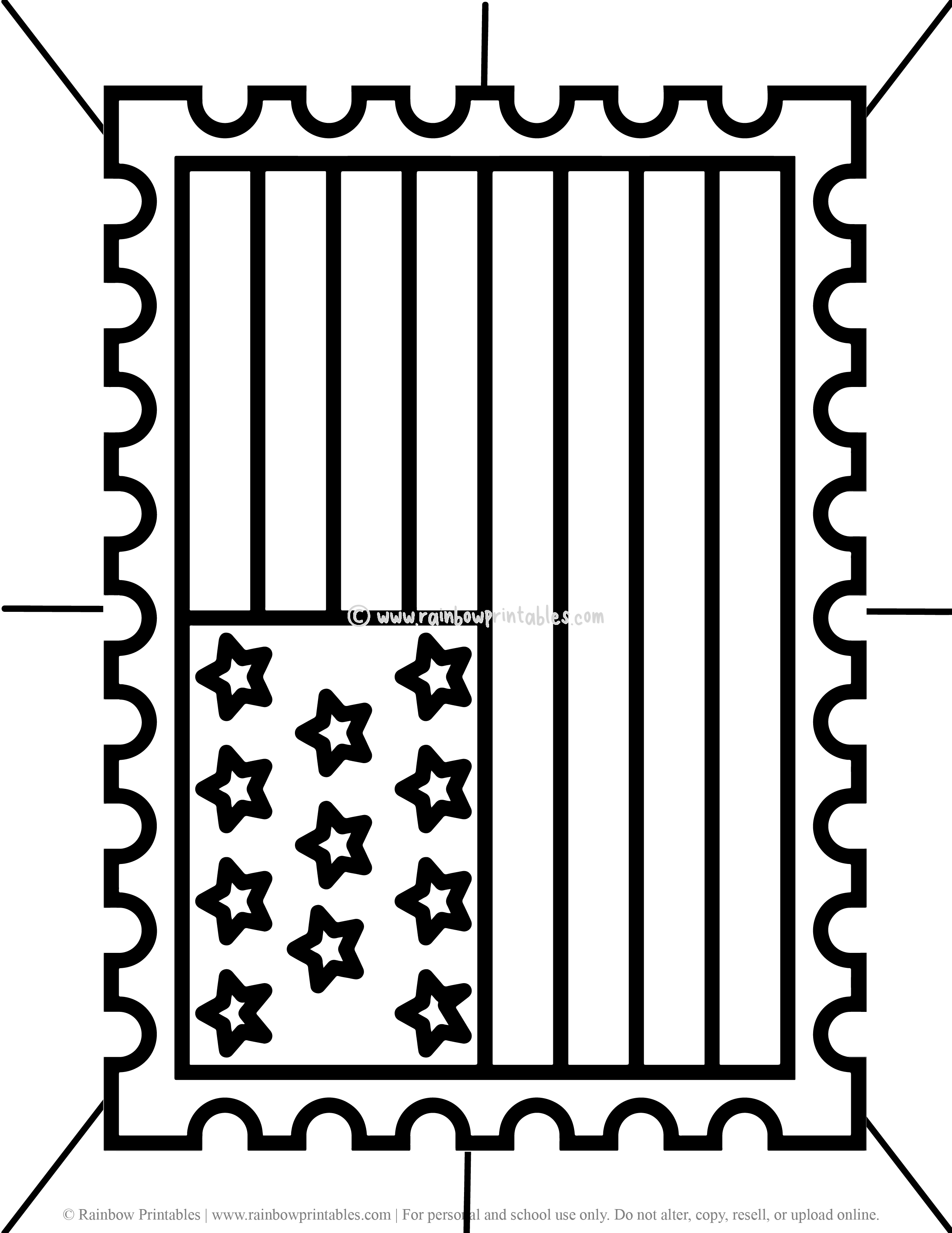 AMERICAN USA Stamp Flag Simple Patriotic Coloring Page for Kids Letter Stars and Stripes