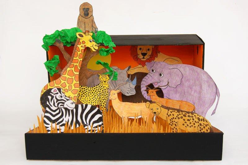 Orangey-Dessert African Savannah Diorama