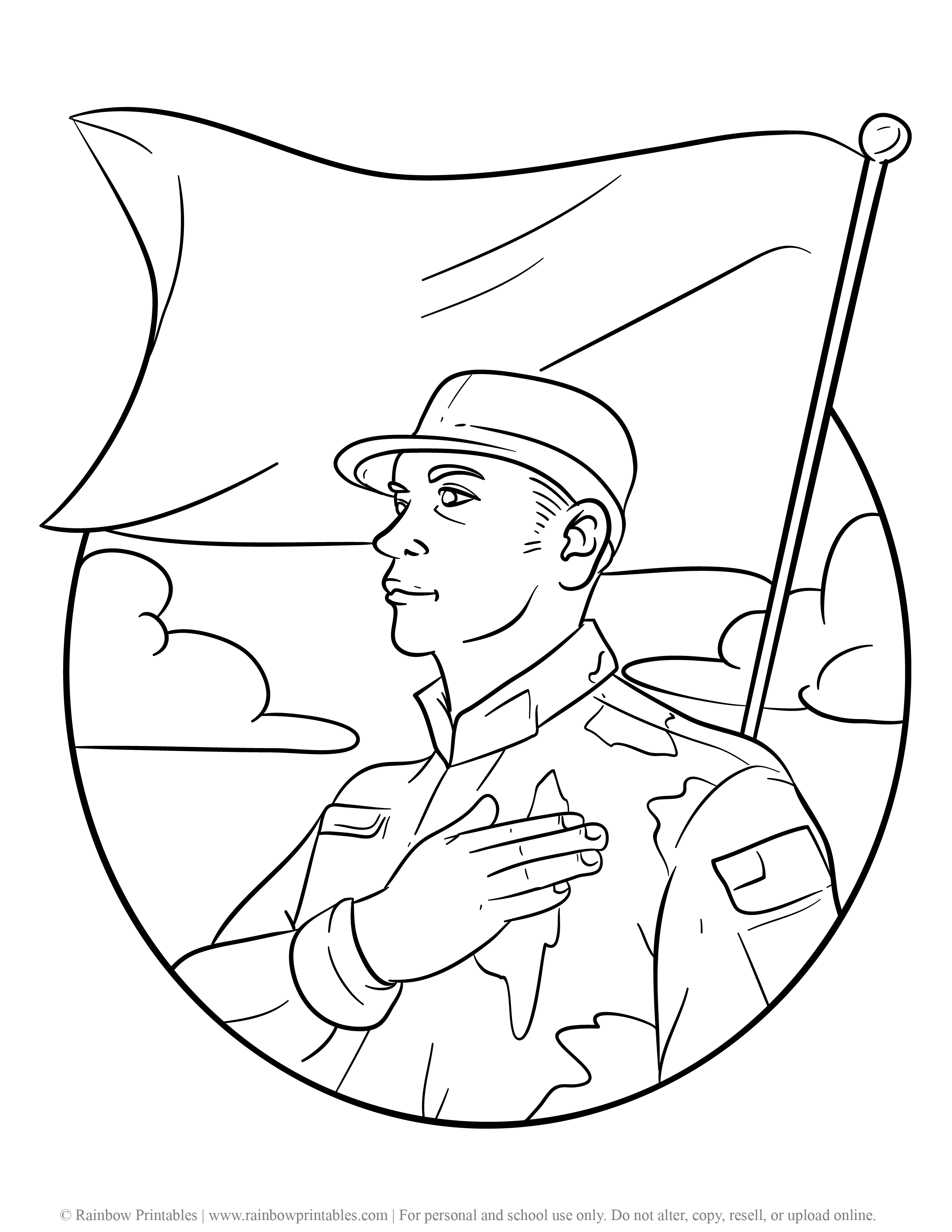 American Soldier Army Navy Coloring Pages For Kids Patriotic July 4th Independence Day Simple Easy Coloring Printables Sheet