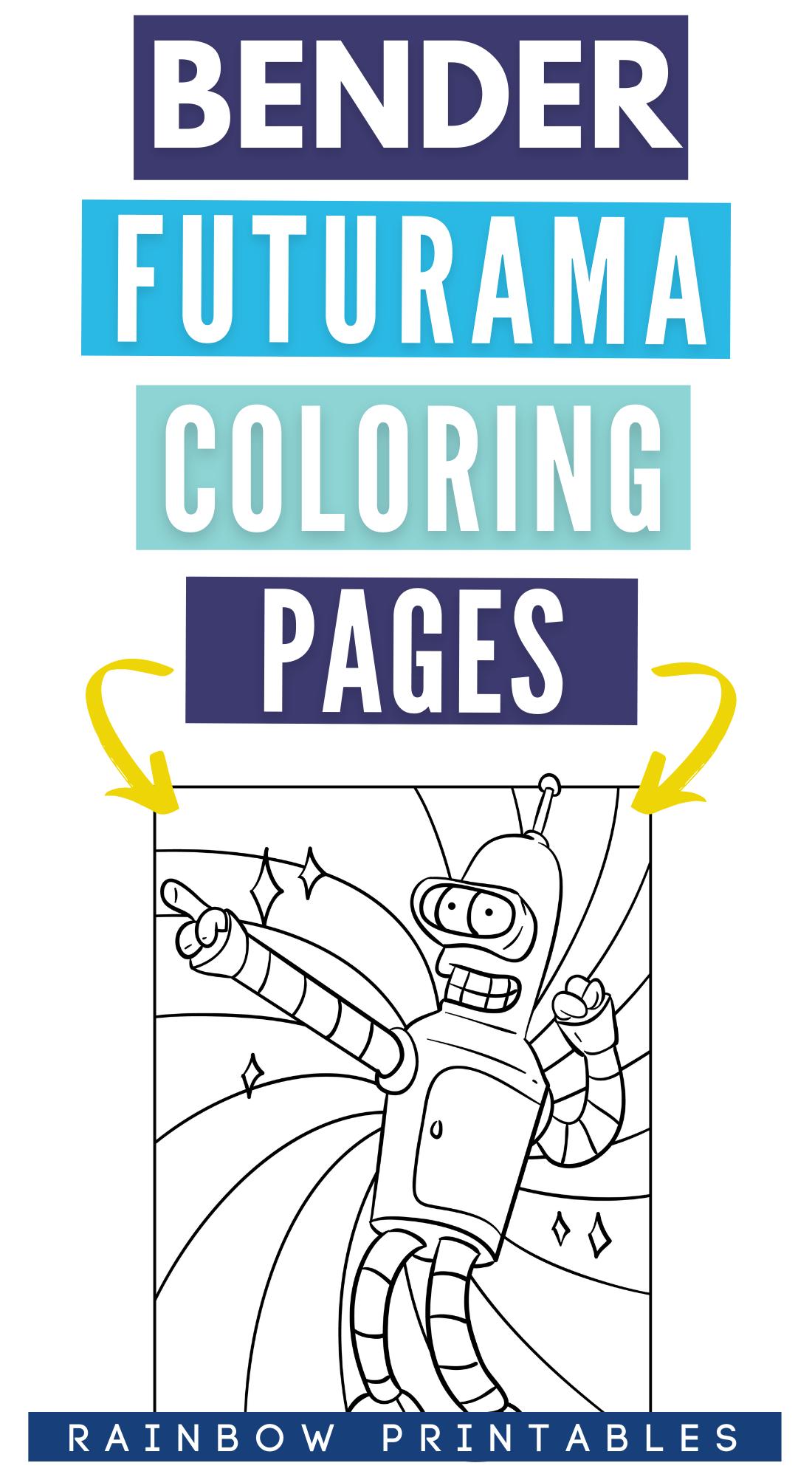 Funny Bender Rodriguez (Futurama) Cartoon Coloring Pages – Robot Coloring Sheet