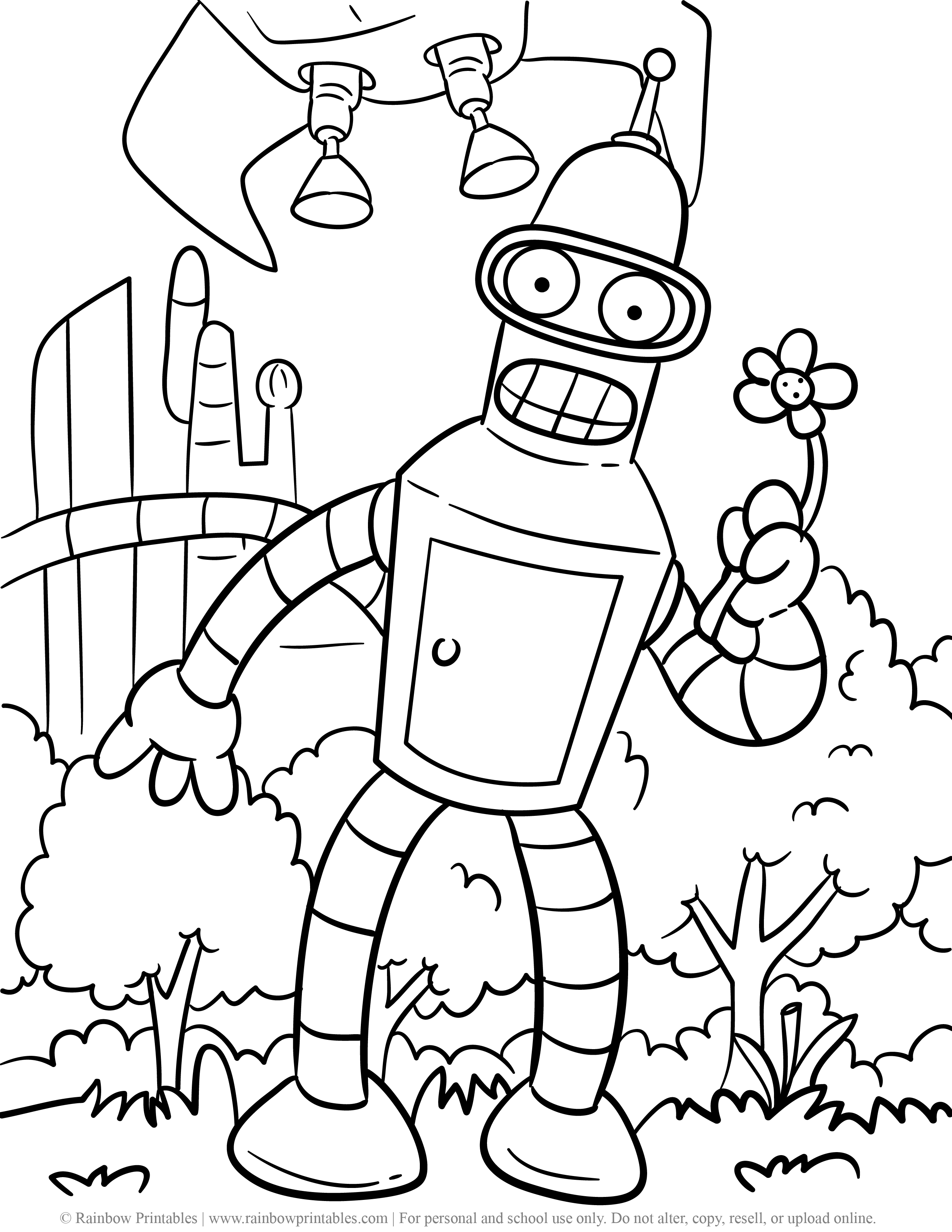 BENDER Rodriguez Futurama With Flower Funny Robot Coloring Page Fanart Matt Groening Characters