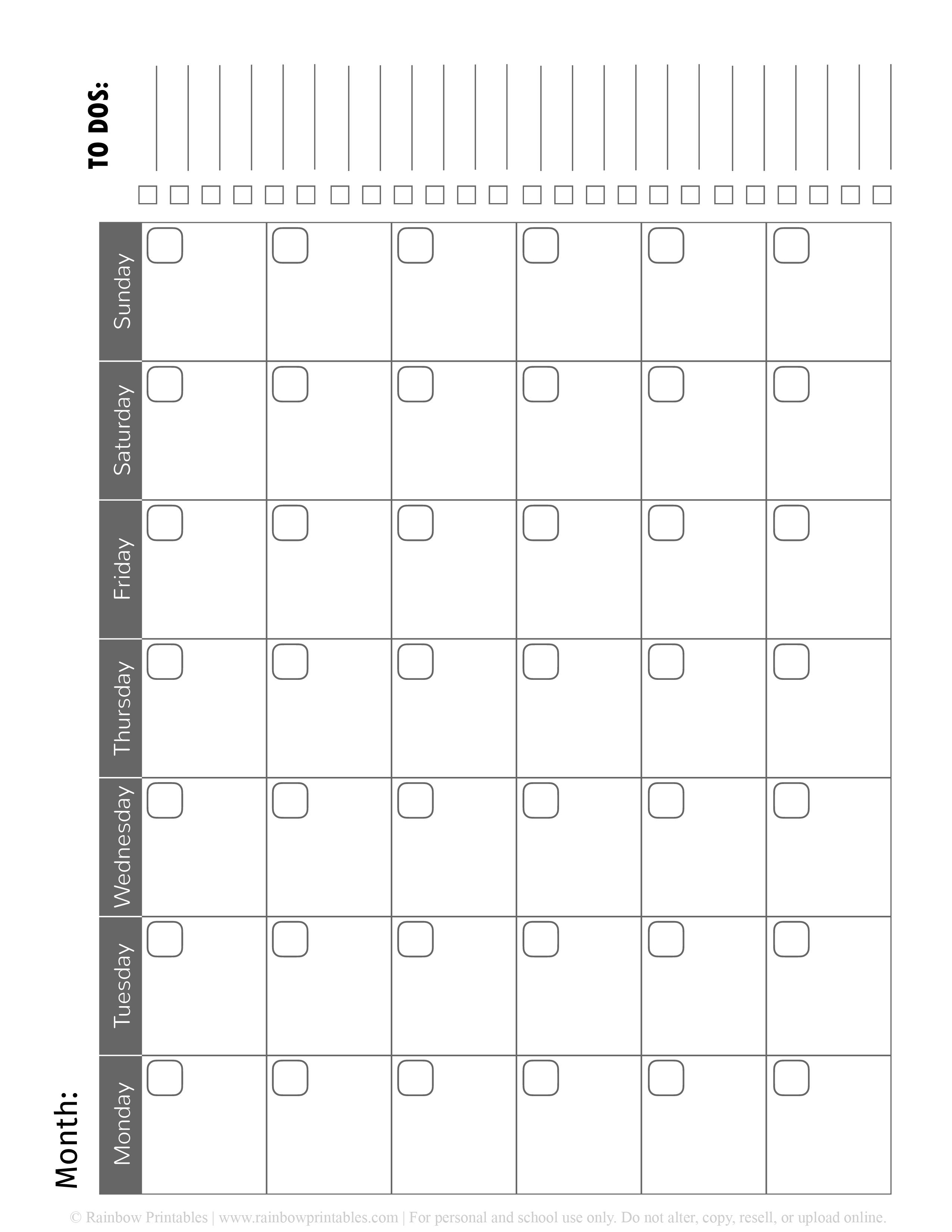 Blank Calendar Printable Free Black White Monthly To Do List-01-01