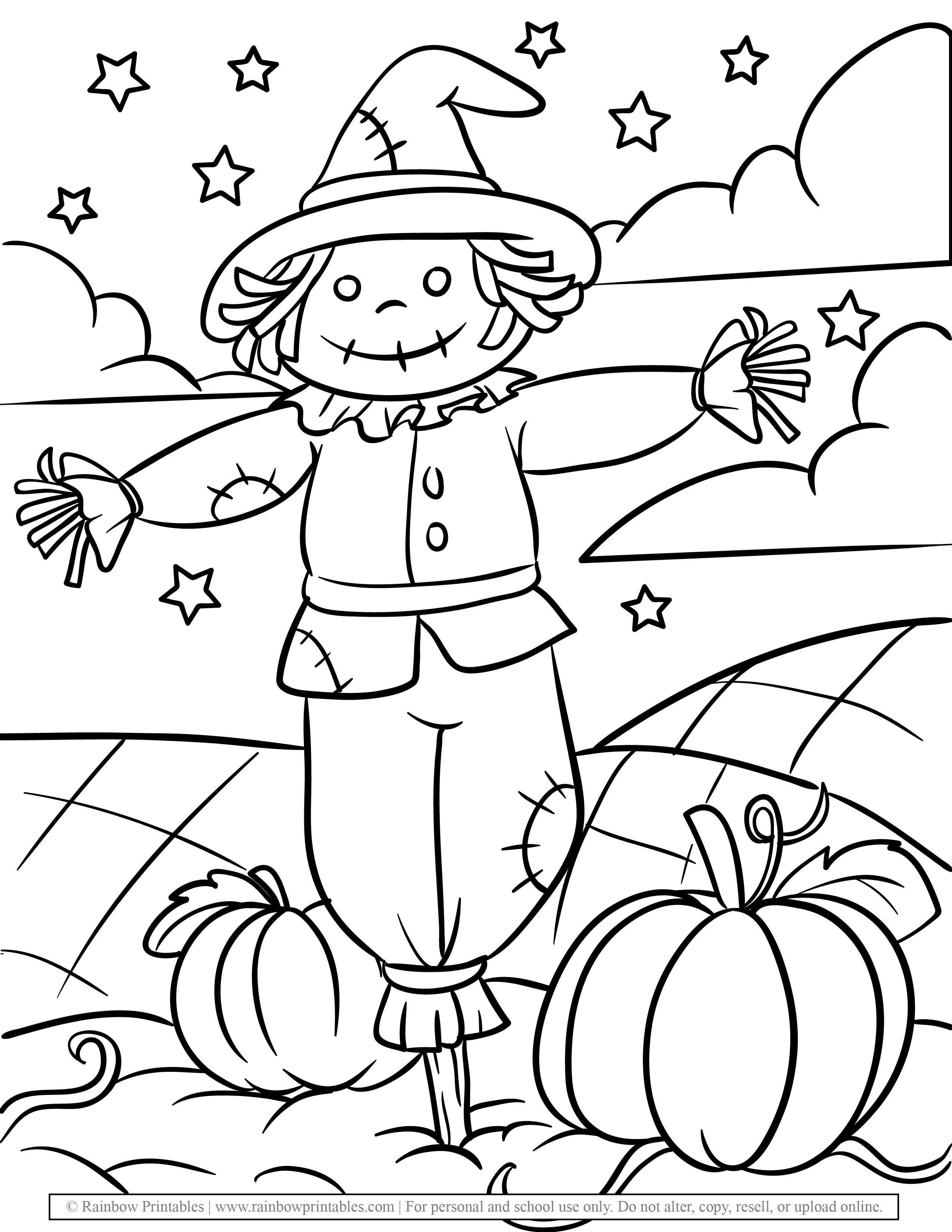CUTE Scarecrow Boy Straw Stick in Field Pumpkin on Starry Night Patches