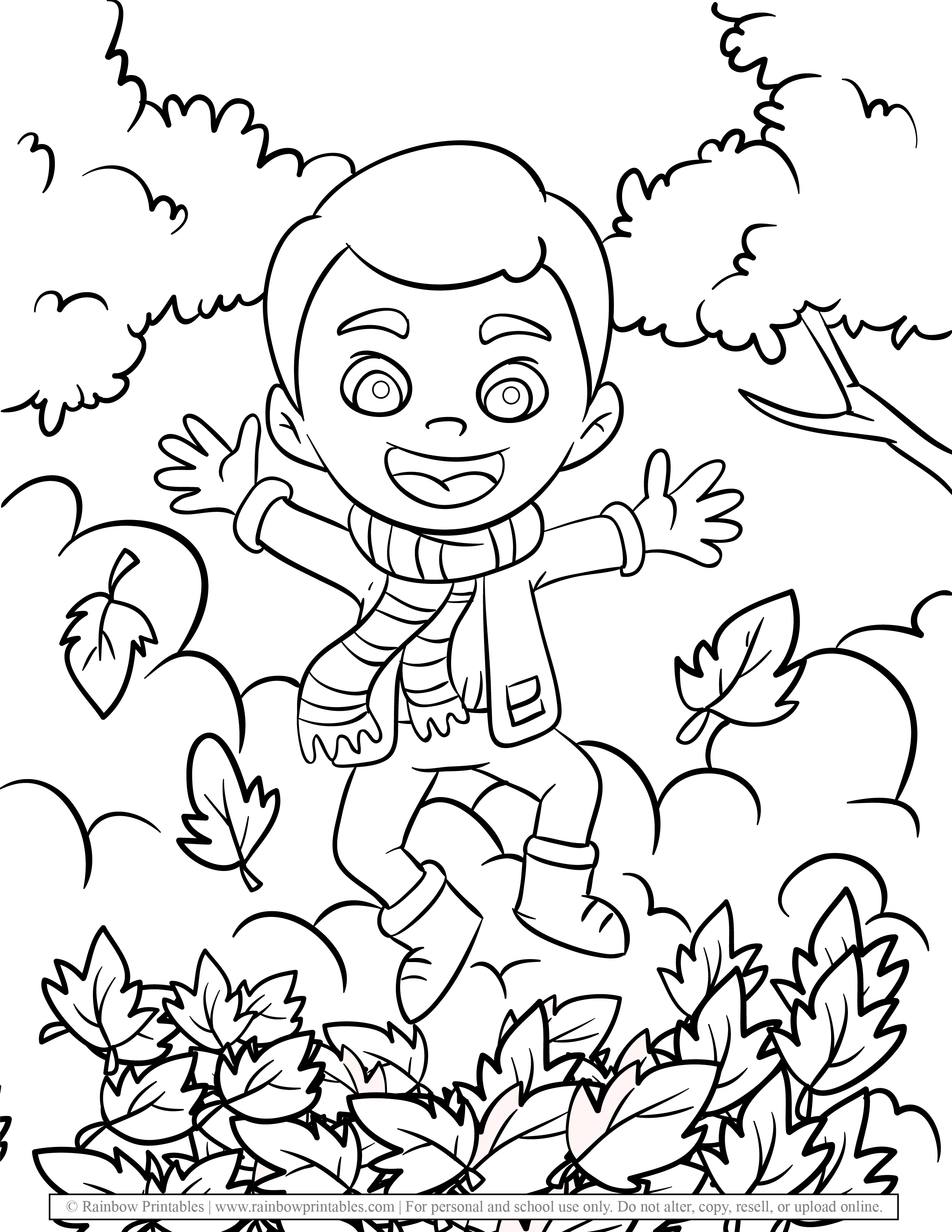 CUTE Young Boy Jumping in FALL Leafs Coloring Pages for Kids Autumn Season Foliage