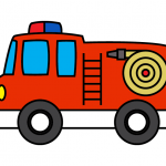 How To Draw a Red Firetruck For Children - Step By Step Line Illustration Guide
