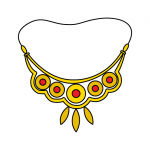 How To Draw a Gold Jewelry Necklace - Step By Step Illustration Guide - For Little Kids