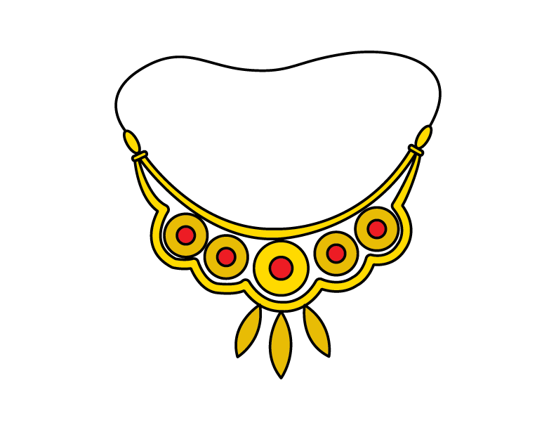 How To Draw a Gold Jewelry Necklace – Step By Step Illustration Guide – For Little Kids