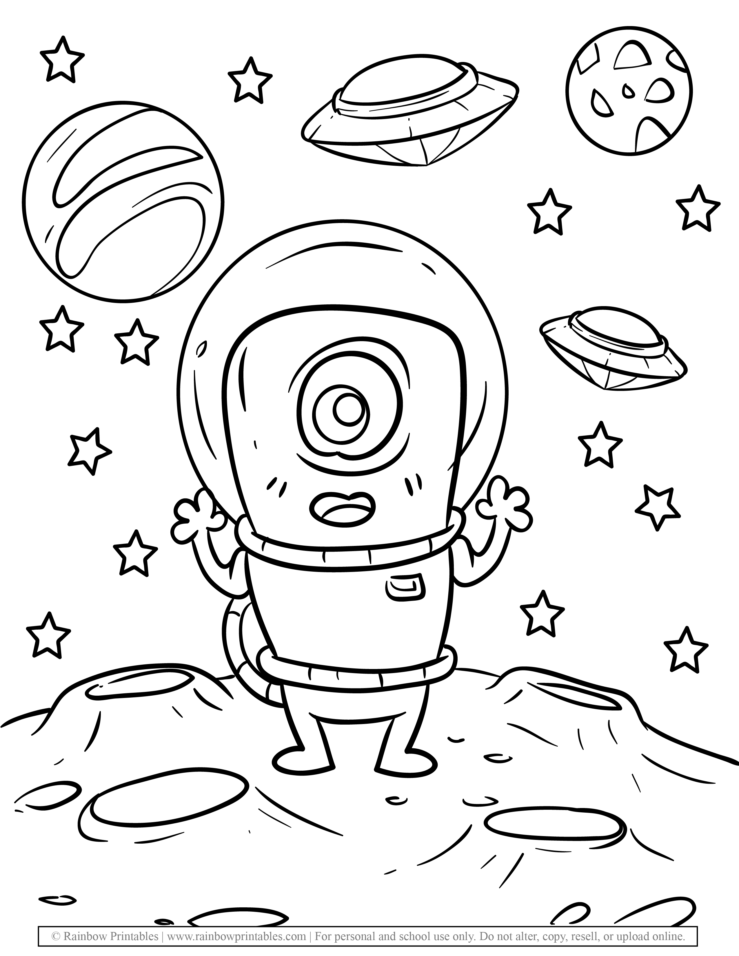 Cute Alien Astronaut Space UFO Smiling Dark Night Coloring Pages for Kids