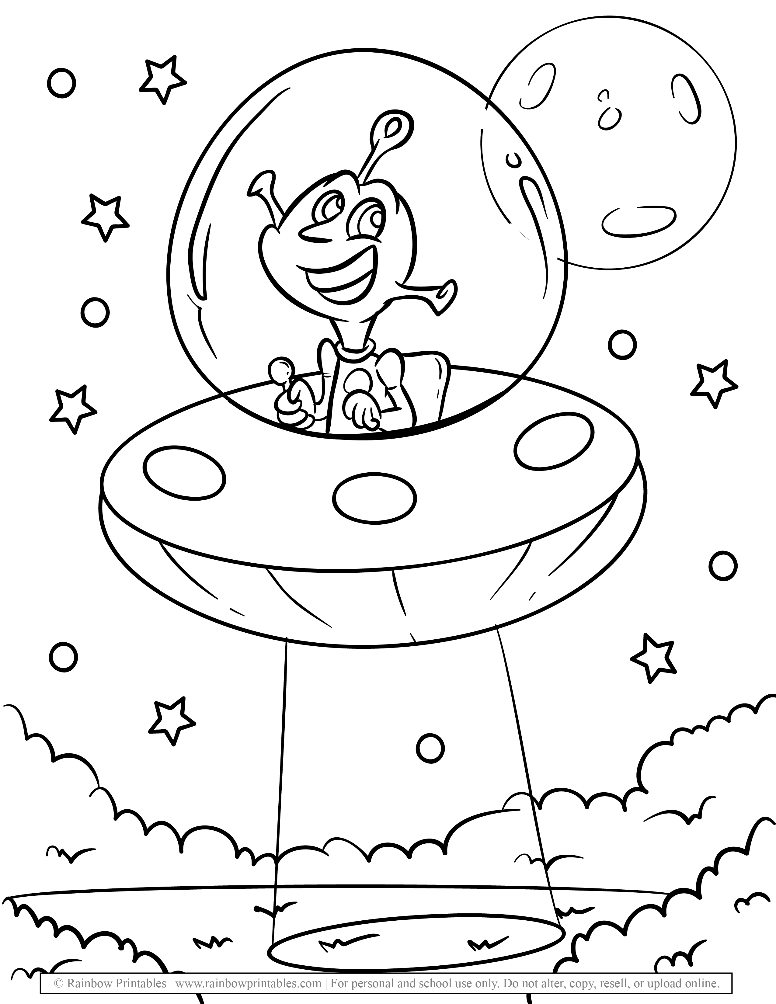Cute Alien UFO Smiling Dark Night Coloring Pages for Kids
