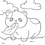 Cute Hamster Rodent Guinea Pig Eating Leaf on Grass With Clouds Coloring Page for Kids