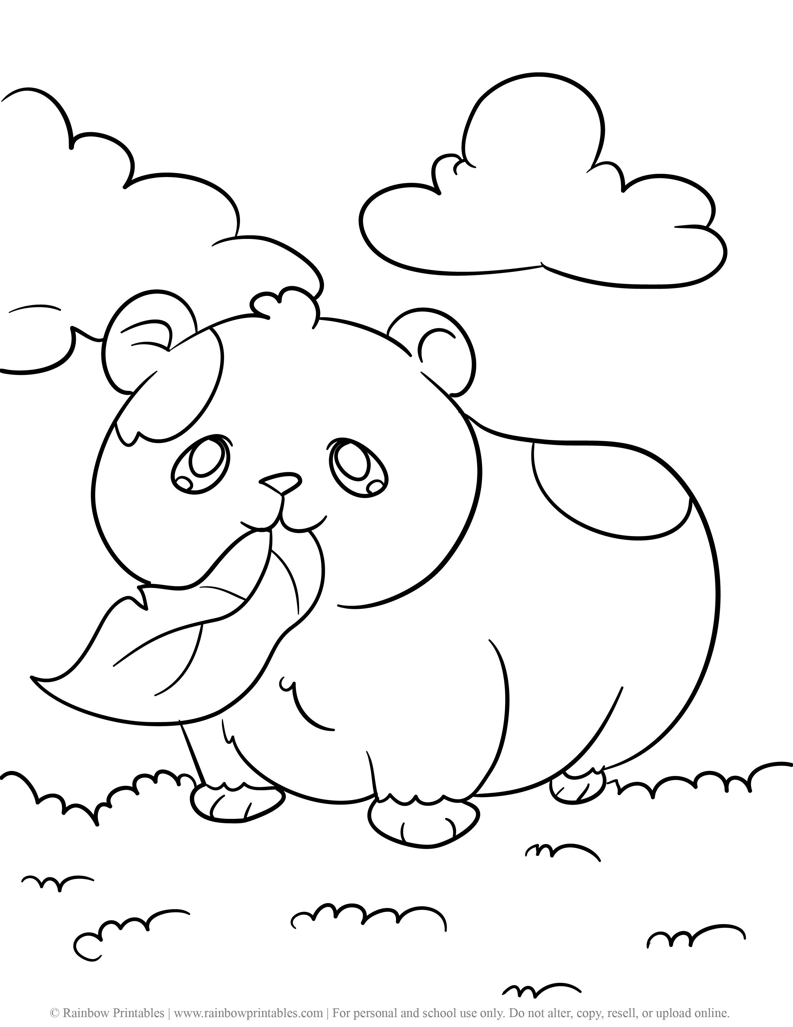 5 Free & Super Cute Hamster (Hamtaro) Coloring Pages For Kids